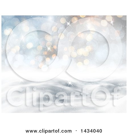 Clipart of a 3d Hilly Winter Landscape with Flares and Blue Sky - Royalty Free Illustration by KJ Pargeter