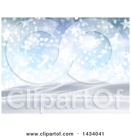 Clipart of a 3d Hilly Winter Landscape with Snow Falling, Stars, Flares and Blue Sky - Royalty Free Illustration by KJ Pargeter