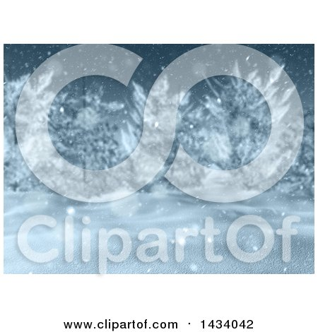 Clipart of a 3d Winter Landscape with Snow Falling and Blurred Trees - Royalty Free Illustration by KJ Pargeter
