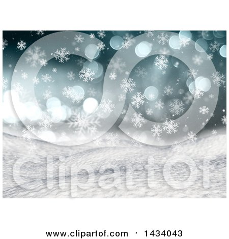 Clipart of a 3d Hilly Winter Landscape with Snow Falling, Flares and Blue Sky - Royalty Free Illustration by KJ Pargeter