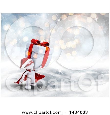 Clipart of a 3d White Super Hero Santa Man Carrying a Christmas Gift in a Winter Landscape - Royalty Free Illustration by KJ Pargeter