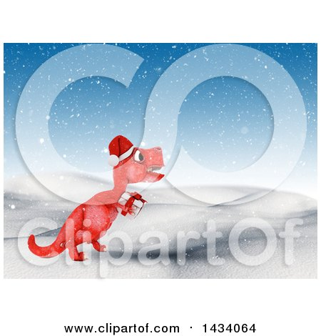 Clipart of a 3d Red Tyrannosaurus Rex Dinosaur Carrying a Gift in a Winter Landscape - Royalty Free Illustration by KJ Pargeter