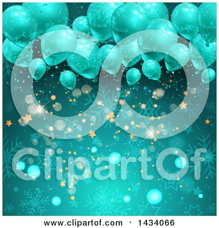 Clipart of a Christmas Party Background of 3d Balloons over Snowflakes, Bokeh Flares and Stars in Turquoise Blue - Royalty Free Vector Illustration by KJ Pargeter