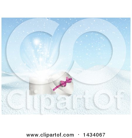 Clipart of a 3d Heart Shaped Valentines Day, Christmas or Anniversary Gift Box in a Winter Landscape - Royalty Free Illustration by KJ Pargeter