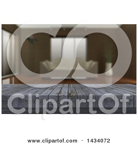 Clipart of a 3d Close up of a Rustic Wooden Table and a Blurred Lobby or Living Room - Royalty Free Illustration by KJ Pargeter