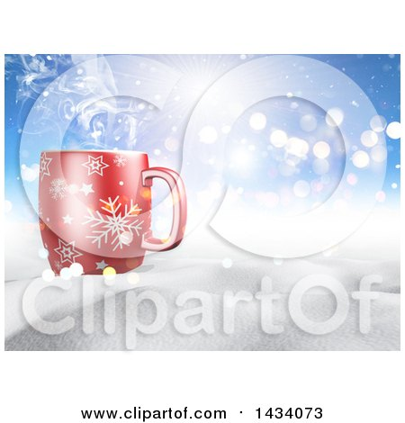 Clipart of a 3d Hilly Winter Landscape with a Steamy Hot Cup of Coffee and Blue Sky with Sunshine - Royalty Free Illustration by KJ Pargeter