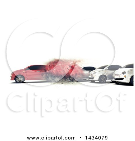Clipart of a 3d Red Car Speeding Away from Others, on a White Background - Royalty Free Illustration by KJ Pargeter