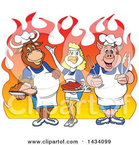 Clipart of a Cartoon Chef Cow, Chicken and Pig with a Roasted Chicken, Brisket and Ribs over Flames - Royalty Free Vector Illustration by LaffToon
