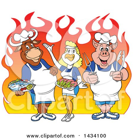 Clipart of a Cartoon Chef Cow, Chicken and Pig with Fish and Shrimp over Flames - Royalty Free Vector Illustration by LaffToon