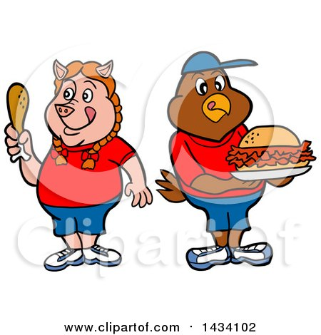 Clipart of a Cartoon Pig Girl Holding a Drumstick and Chicken Boy with a Pulled Pork Sandwich - Royalty Free Vector Illustration by LaffToon
