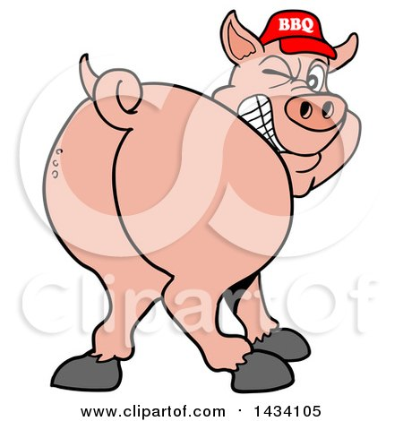 Clipart of a Cartoon Rear View of a Grinning and Winking Pig Looking Back and Wearing a Bbq Hat - Royalty Free Vector Illustration by LaffToon
