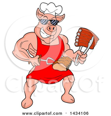 Clipart of a Cartoon Buff Chef Pig Wearing Sunglasses and Holding Ribs in Tongs and Brisket on a Fork - Royalty Free Vector Illustration by LaffToon