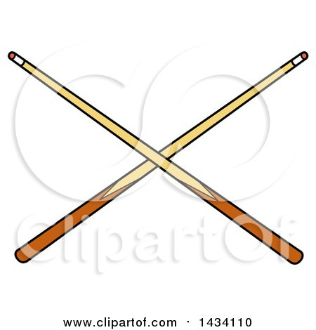 Clipart of Cartoon Crossed Billiards Pool Cue Stick - Royalty Free Vector Illustration by LaffToon