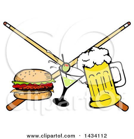 Clipart of a Cartoon Hamburger, Cocktail and Beer and Crossed Billiards Pool Cue Stick - Royalty Free Vector Illustration by LaffToon