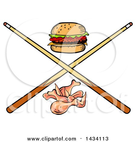 Clipart of a Cartoon Hamburger, Chicken Wings and Crossed Billiards Pool Cue Stick - Royalty Free Vector Illustration by LaffToon