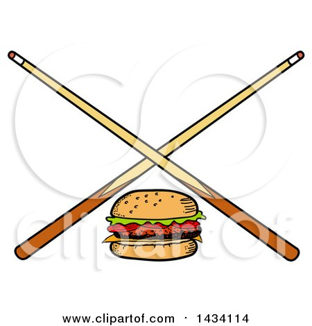 Clipart of a Cartoon Hamburger and Crossed Billiards Pool Cue Stick - Royalty Free Vector Illustration by LaffToon