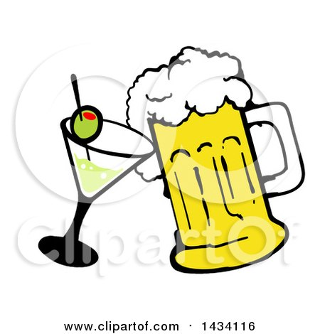 Clipart of a Cartoon Martini Cocktail and Beer Mug - Royalty Free Vector Illustration by LaffToon