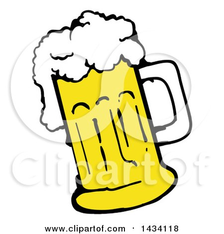Clipart of a Cartoon over Flowing Mug of Beer - Royalty Free Vector Illustration by LaffToon