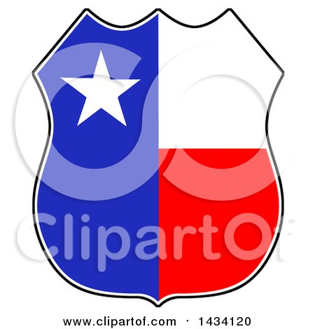 Clipart of a Cartoon Texas Badge - Royalty Free Vector Illustration by LaffToon