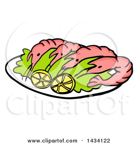 Clipart of a Cartoon Platter of Shrimp with Lemon Slices - Royalty Free Vector Illustration by LaffToon