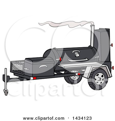Clipart of a Cartoon Meadow Creek TS120 Barbeque Smoker Trailer - Royalty Free Vector Illustration by LaffToon