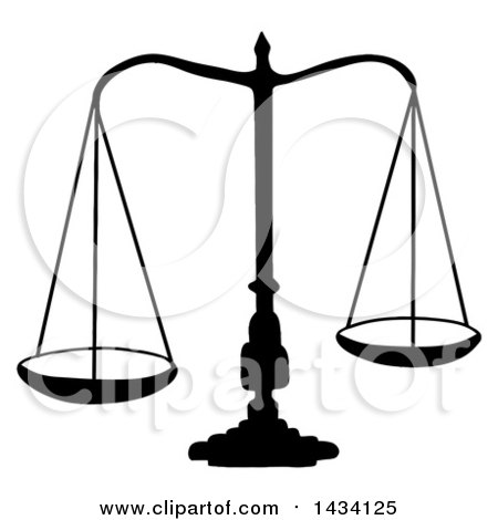 Clipart of a Black Silhouetted Scales of Justice - Royalty Free Vector Illustration by LaffToon