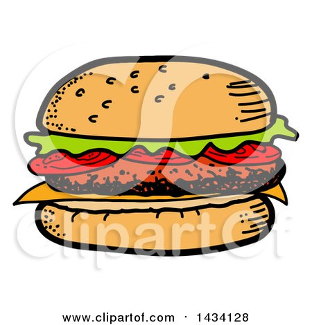 Clipart of a Cartoon Hamburger - Royalty Free Vector Illustration by LaffToon