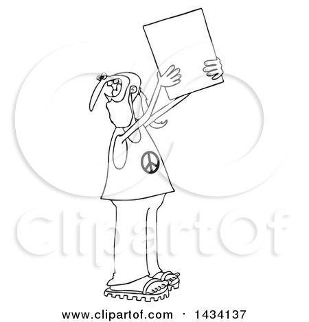 Clipart of a Cartoon Black and White Male Hippie Protestor Wearing a Peace Shirt and Holding up a Blank Sign - Royalty Free Vector Illustration by djart