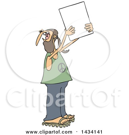 Clipart of a Cartoon White Male Hippie Protestor Wearing a Peace Shirt and Holding up a Blank Sign - Royalty Free Vector Illustration by djart