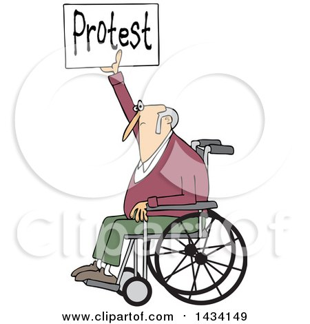 Clipart of a Cartoon White Senior Male Protestor in a Wheelchair, Holding up a Protest Sign - Royalty Free Vector Illustration by djart