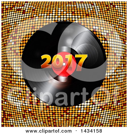 Clipart of a 3d Music Vinyl Record Album with 2017 over Golden Mosaic - Royalty Free Vector Illustration by elaineitalia