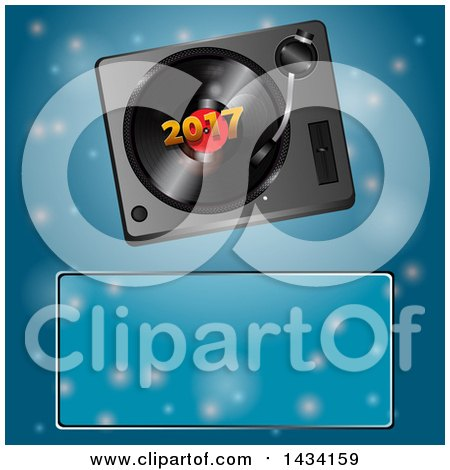 Clipart of a 3d Music Vinyl Record Player with 2017 over Blue and a Text Box - Royalty Free Vector Illustration by elaineitalia