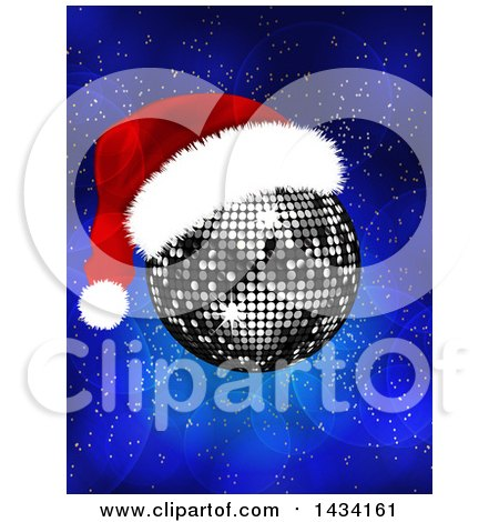 Clipart of a Silver Disco Ball with a Christmas Santa Hat over a Blue Flare Background - Royalty Free Vector Illustration by elaineitalia