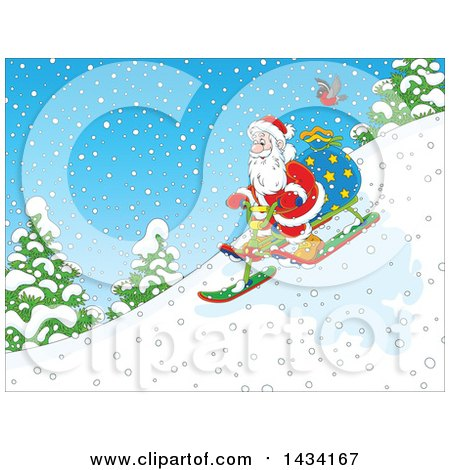 Clipart of a Cartoon Robin Bird Following Santa Claus with a Christmas Sack, Going down Hill on a Snow Trike Sled - Royalty Free Vector Illustration by Alex Bannykh