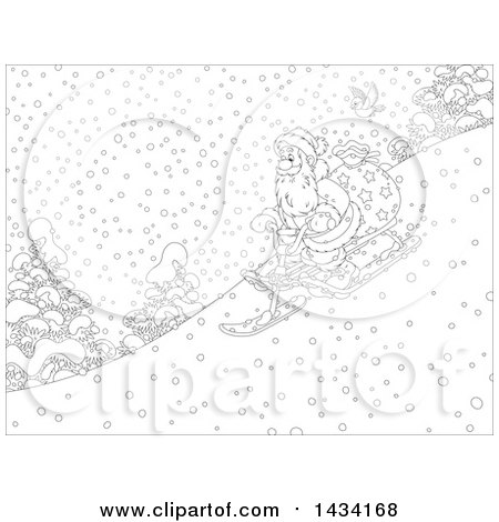 Clipart of a Cartoon Black and White Lineart Robin Bird Following Santa Claus with a Christmas Sack, Going down Hill on a Snow Trike Sled - Royalty Free Vector Illustration by Alex Bannykh