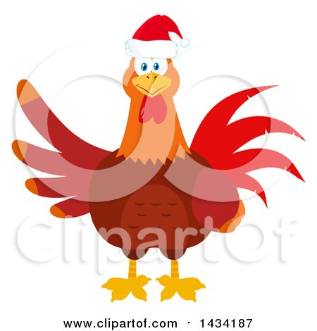 Flat Design Style Clipart of a Christmas Chicken Rooster ...