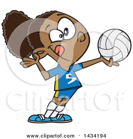 Clipart Of A Cartoon Athletic Black Girl Serving A Volleyball Royalty Free Vector Illustration