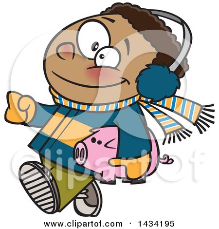 Clipart of a Cartoon Happy Black Boy in Winter Clothes, Carrying His Piggy Bank to Go Christmas Shopping - Royalty Free Vector Illustration by toonaday