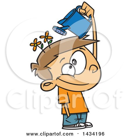 Clipart of a Cartoon Caucasian Boy Watering His Mind Flowers with a Can - Royalty Free Vector Illustration by toonaday