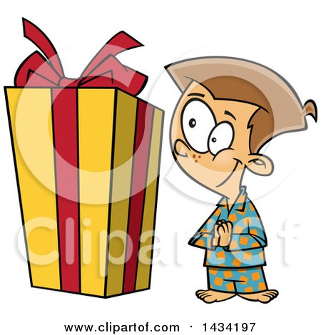 Clipart of a Cartoon Excited Caucasian Boy Looking at a Large Christmas Present - Royalty Free Vector Illustration by toonaday