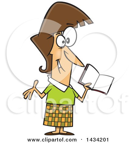 Clipart of a Cartoon Happy Caucasian Female Teacher Holding a Book - Royalty Free Vector Illustration by toonaday