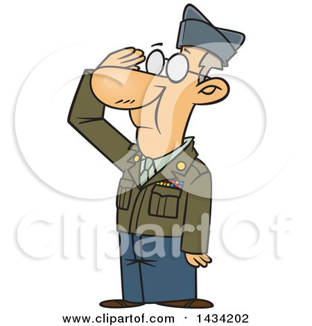 Clipart Of A Cartoon Caucasian Senior Veteran Saluting Royalty Free Vector Illustration