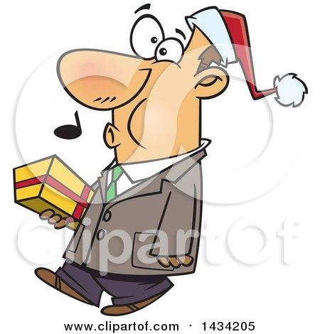 Clipart of a Cartoon Happy White Man Wearing a Santa Hat, Whistling and Carrying a Christmas Gift - Royalty Free Vector Illustration by toonaday