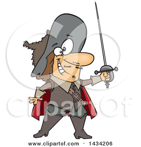 Clipart of a Cartoon Musketeer Holding a Sword - Royalty Free Vector Illustration by toonaday