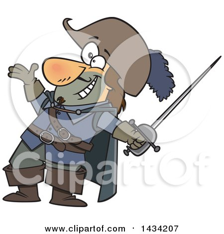 Clipart of a Cartoon Musketeer Presenting and Holding a Sword - Royalty Free Vector Illustration by toonaday