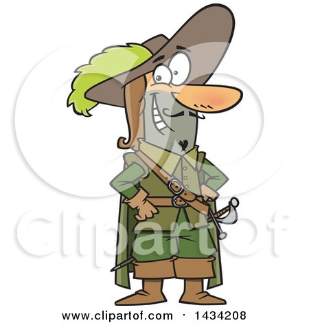 Clipart of a Cartoon Musketeer Standing with Hands on His Hips - Royalty Free Vector Illustration by toonaday