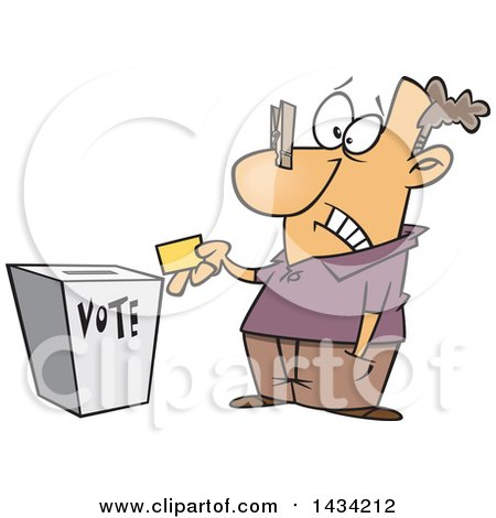 Clipart of a Cartoon White Man with a Clip on His Nose, Casting His Vote - Royalty Free Vector Illustration by toonaday