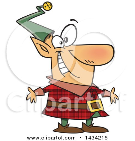 Clipart of a Cartoon Happy Christmas Elf in a Red Plaid Suit - Royalty Free Vector Illustration by toonaday