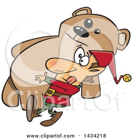 Clipart of a Cartoon Christmas Elf Carrying a Giant Teddy Bear - Royalty Free Vector Illustration by toonaday