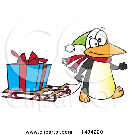 Clipart of a Cartoon Festive Penguin Pulling a Christmas Present on a Sled - Royalty Free Vector Illustration by toonaday